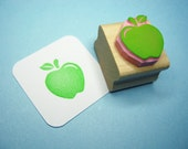 Apple rubber stamp - Juicy Apple - Hand Carved Rubber Stamp - gift for teacher - teacher gift - teacher appreciation - gift for foodie