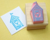 Beach Hut Rubber Stamp - Life Saver Beach Hut Hand Carved Rubber Stamp