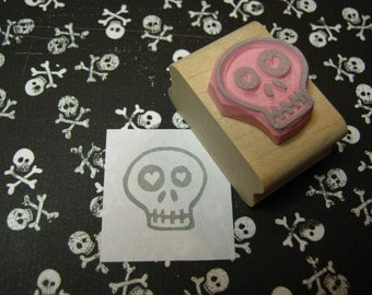 Skull Stamp -Love Sick Skull Hand carved rubber stamper - Gift for Boys - Halloween Stamp - Gift for Teens - Alternative - Goth