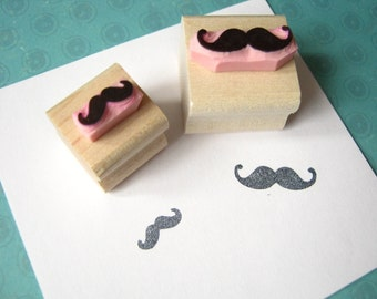 Moustache Rubber Stamp - Pair of Mini Moustaches Hand Carved Rubber Stamps - Gift for Men - Beard Lover - Hipster Present - Mens Grooming