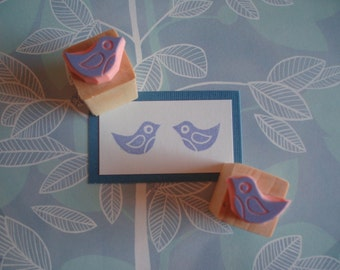 Bird Stamps - Pair of Mini Birdie Hand Carved Rubber stampers - Bird Lover Gift - Wedding Invites - DIY Wedding - Nature - Flying - Wings
