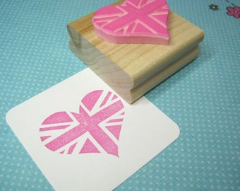 Union Jack Heart British Flag Stamp - Hand Carved Rubber Stamp - English Stamper - Great Britain - Scrapbooking - Made in Britain