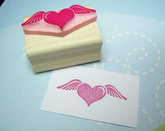 Flying Love - Hand Carved Rubber Stamp - Wedding Rubber Stamp - Heart Stamper - Wedding Stationery - Winged Heart - Tattoo Rubber Stamp