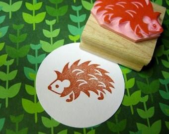 Hedgehog Stamp Hand Carved Rubber Stamp - Woodland Wedding - Nature Stamper - DIY Wedding - Hedgehog Lover Present - Prickles - Kawaii