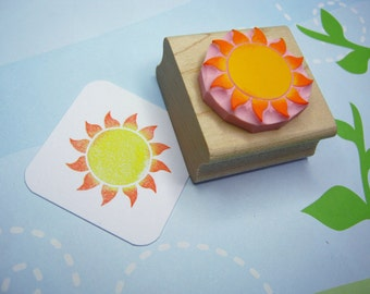Sun stamp - Glowing Sun - Hand Carved Rubber Stamper - Beach Wedding - Holiday Stamp - Wedding Invites - Sky - Tropical Wedding - Scrapbook