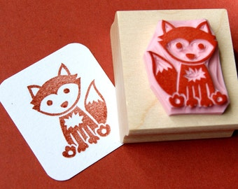 Fox Stamp - Hand Carved Rubber Stamp
