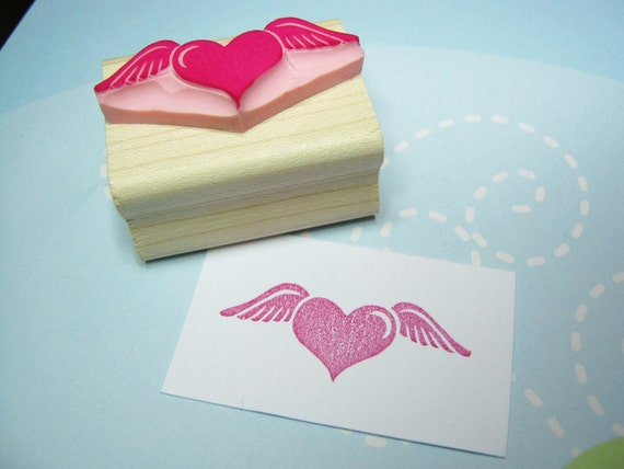 Flying love hand carved rubber stamp wedding rubber stamp for Wedding dress rubber stamp