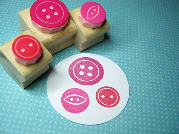 Sweet Three Button Set - Hand Carved Rubber Stamps - Button Gift - Gift for Button Lover - Button Craft - Button Stamper - Gift for Mom