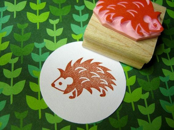 Hedgehog Stamp - Prickly Hedgehog - Hand Carved Rubber Stamp
