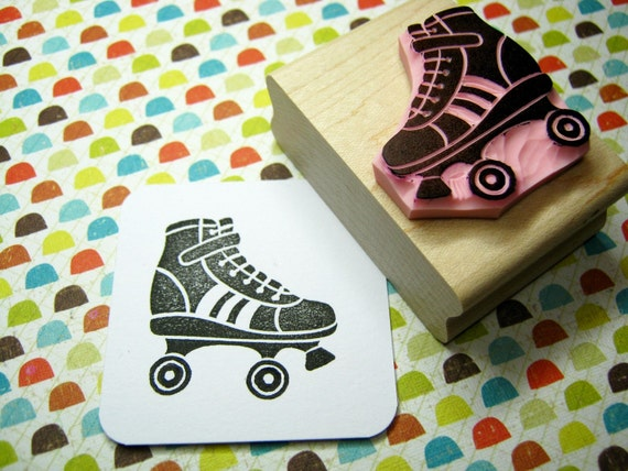 Roller Skate - Hand Carved Rubber Stamp - Roller Derby Gift - Retro Lover - 50s Stamper - Retro Party - Girl Present - Rollerblading - Sport