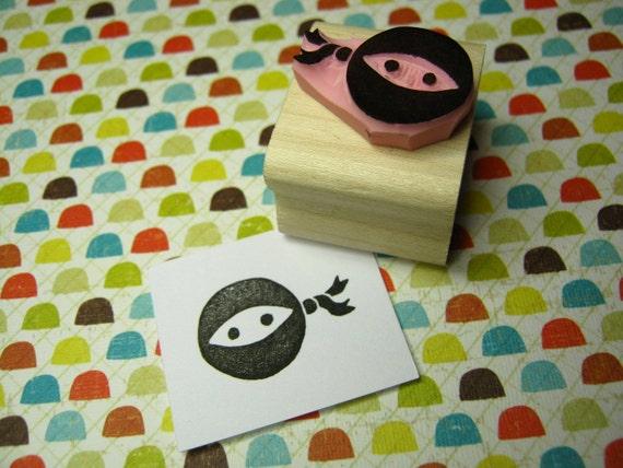 Mini Ninja - Hand Carved Rubber Stamp - Boy Rubber Stamp - Gift for Ninja Lover - Stocking Stuffer - Handmade Stamper - Ninja Mask