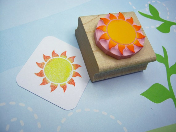 Sun stamp - Glowing Sun - Hand Carved Rubber Stamp