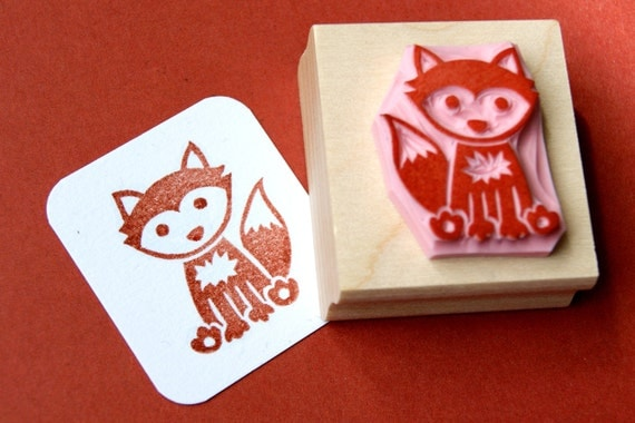 Fox Hand Carved Rubber Stamp - Woodland Stamper - Foxy Stamp - Gift for Animal Lover -  Card Making Supplies - Scrapbooking - Gift Nature
