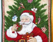 Santa enjoying a Cookie, Gingerbread House, Snowman, Tree Wall Hanging