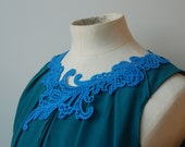 Lace Eco-Necklace - Blue Swirly - Delicate Laser Cut - Recycled Felt