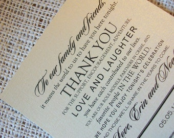 Wedding Menu Card - Thank You Design - Pearl Shimmer Cardstock - 1.00 each