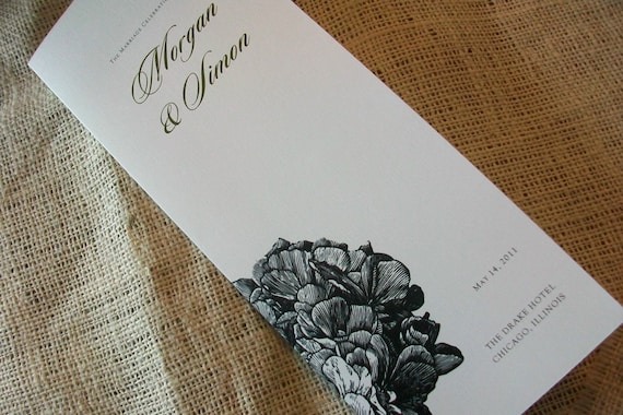 Wedding Program - Sample of Jayne with closure - ANY DESIGN-1.69 each