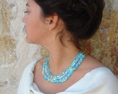 The Turquoise Journey of Aphrodite / Cube Crystal Necklace in Turquoise Tones