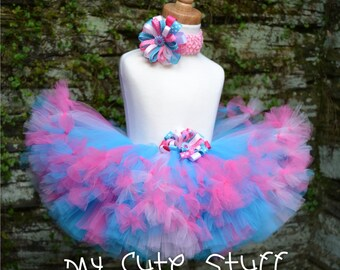 Sweet Colors Princess Tutu and Elastic Headband - Sizes 6 9 12 18 24 Months 2T 3T 4T 5T - Birthdays, Photos, Holidays, Baby Shower, Gifts