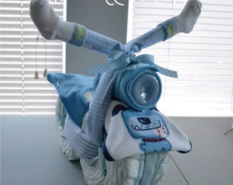 Motorcycle Diaper Cake - Baby Shower  Cake - Boy Diaper Cake - Nursery Diaper Cake - Baby Shower Gift Mom to Be Cake - Personalized Cake