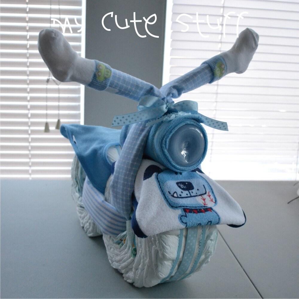 motorcycle diaper cake baby shower cake boy diaper cake