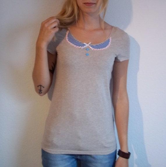 Creme Peter Pan Collar T-Shirt