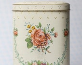 Vintage Shabby Chic Flowered Metal Tea Tin