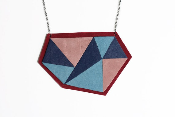 Leather breast plate geometric necklace - blue & dark red