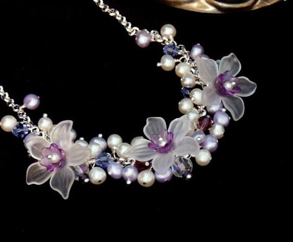 Amethyst Garden Necklace of Daffodils and Pearls