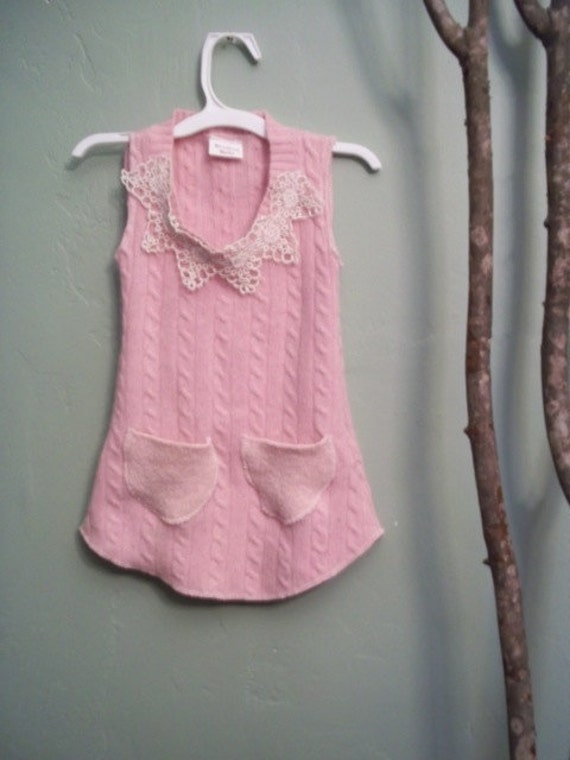 Pink Upcycled Spring Sweater Tank Dress  3T