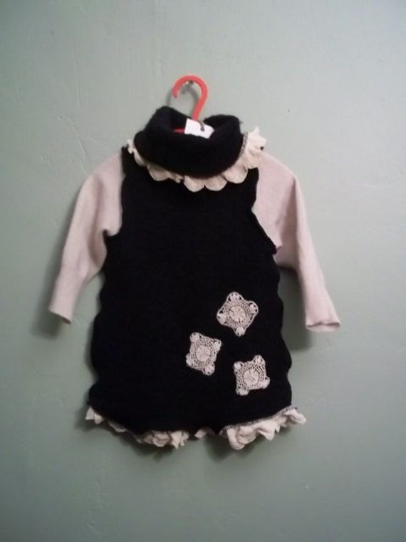 Black and Cream Upcycled Toddler Sweater Dress Cashmere and Wool with Antique Lace Snowflake