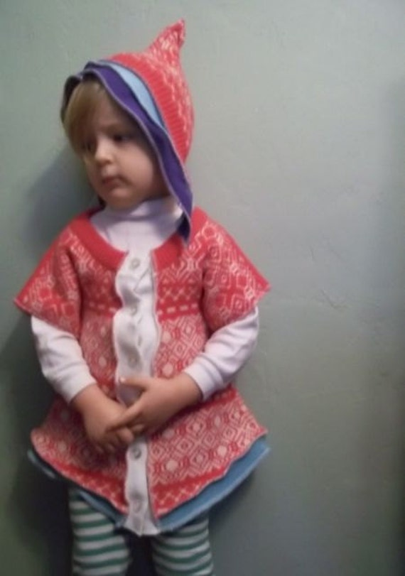 Upcycled Pink, White and Blue Wool Dress and Elf Bonnet