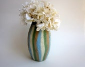 Striped Vase / Glass and Concrete painted vase / neutral decor / Spring home / vase