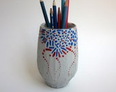 Pencil Holder / firework inspired /  office decor / red blue grey pen cup / handpainted cup