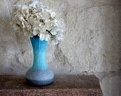 Fluted Blue Vase with Stone Gray accent Glass and stucco Vase