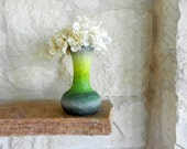 Fluted Green Vase with Stone Gray accent / handcrafted vases by Kristin