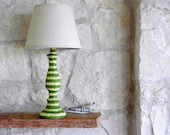 Sage Green and Cream Striped Lamp - Shade included - Table Lamp - Custom Order