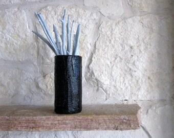 Vase / Made to order Modern Black Vase / Glossy Black Home Decor / black as night