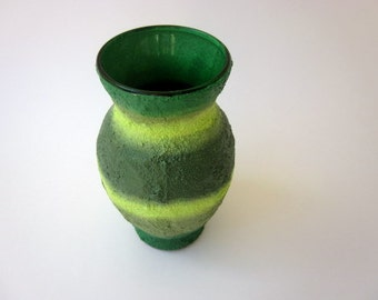 Small Green Vase / Green Home Decor / green glass vase and concrete handpainted