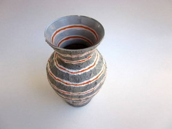 Orange and Gray Vase Modern Inside Outside Series Glass and Stucco