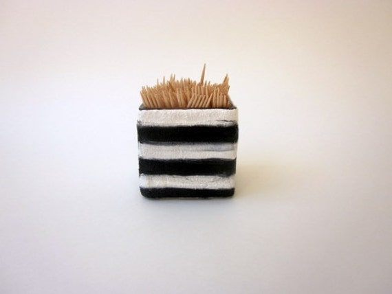 Black and White Toothpick Holder Small Kitchen Decor