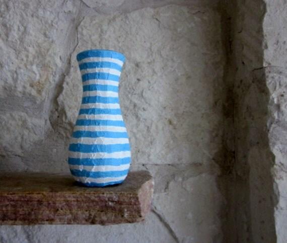 Striped Vase / blue vase / handcrafted vase / powder blue decor / blue home decor