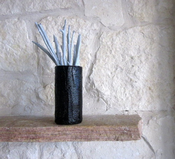 Vase / Made to order Modern Black Vase / Glossy Black Home Decor / black as night