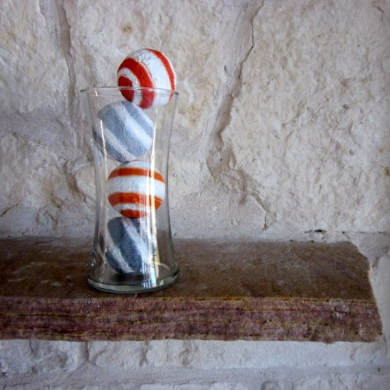 Orange and Gray Home Decor - Vase Fillers with Included Glass Vase - Filled Vase