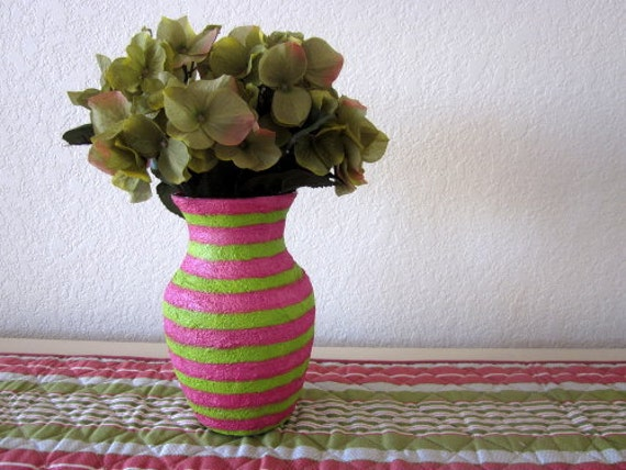 Pink and Green Vase Glass and stucco Painted Stripes Spring Home Decor