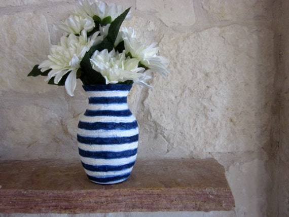 Navy Blue and White Vase Glass and stucco Painted Stripes