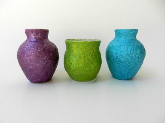 Trio of vases, Purple, lime green, and turqoise, windowsill decor springtime decor Easter decoration