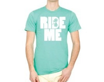 sz L RIDE ME mint green with white