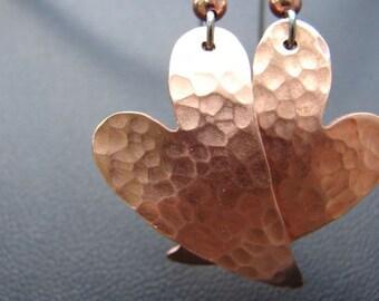 Copper Heart Hammered Dangle Earrings for Love
