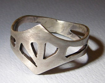 King Ring made from Sterling Silver in the Shape of a Crown with Cut Out Design